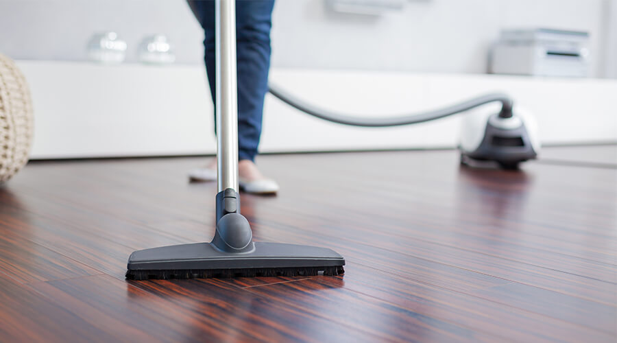 hoovering wooden floor