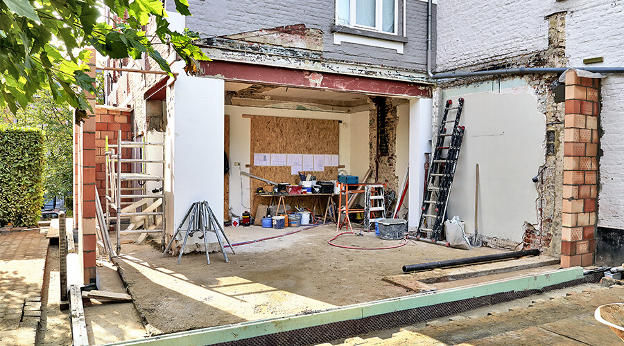 home extension under construction