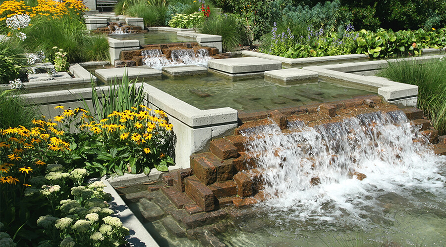 landscaped garden water feature
