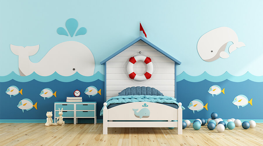 underwater themed childs bedroom