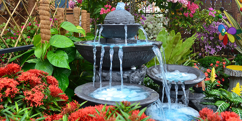 Water feature in garden